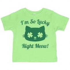 So Lucky St Pattys Kid Cat Puns