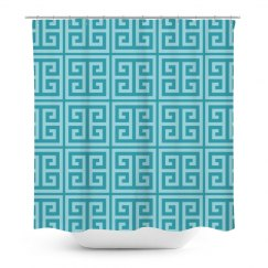 Deep Water Blue Greek Key Pattern Shower Curtain
