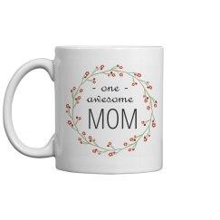 Floral Awesome Mom Mug