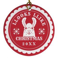 Custom Llooks Llike Christmas Llama
