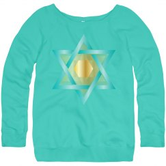 Gold & Teal Star of David