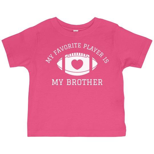 03284d7e Custom Toddler Football Sister Toddler Ruffle Fine Jersey T-Shirt