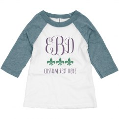 Custom Mardi Gras Monogram Toddler Raglan