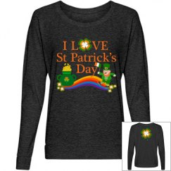 I Love St Patrick's Day, Ladies Long Sleeve Top