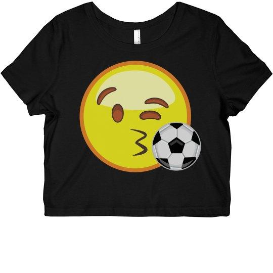 11d4ed3e54905 Emoji Soccer Crop Top Ladies Slim Fit Crop Top T-Shirt