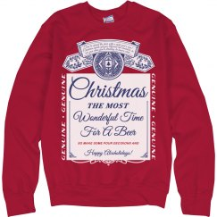 Christmas Beer Label Ugly Sweater