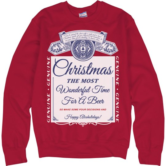 Beer Christmas Sweater.Christmas Beer Label Ugly Sweater