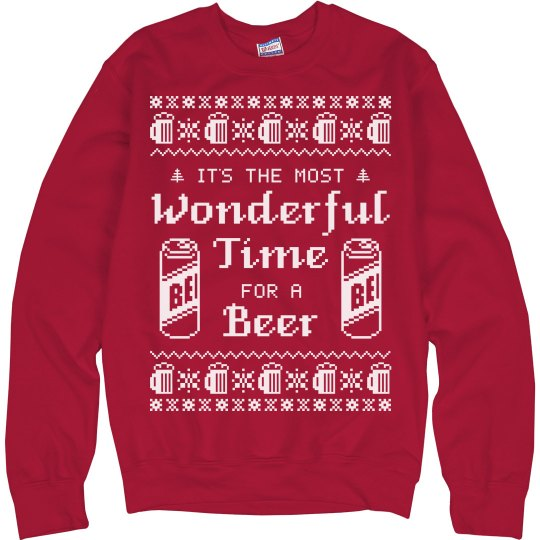 Beer Christmas Sweater.Most Wonderful Beer Ugly Sweater