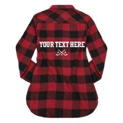 Ladies Long Sleeve Plaid Flannel Shirt