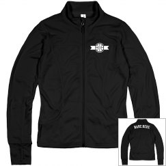 Basketball Emblem Custom Name Zip Jacket