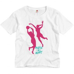 White youth tee w/defense stance graphic