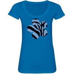 Blue & Black Zebra Print Flower