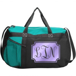 Customizable Monogrammed Duffle Bag - Teal/Aqua