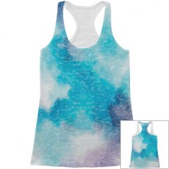 All Over Print Blue Watercolor Tank Top