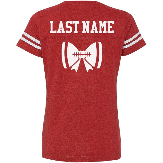 5b9133c10 Custom Football Bow Tee Ladies Relaxed Fit Vintage Sports T-Shirt