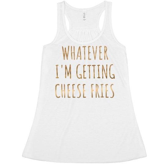 aa1c31a8736 Metallic Gold Whatever Cheese Fries Ladies Flowy Metallic Boxy Cropped Tank  Top