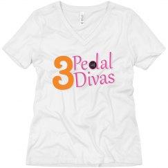 3 Pedal Divas Women's V-Neck Tee