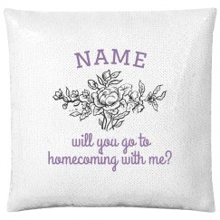 Custom Name Floral Homecoming Pillow