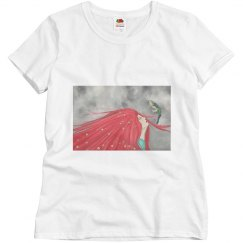 Red long hair girl with bird t-shirt