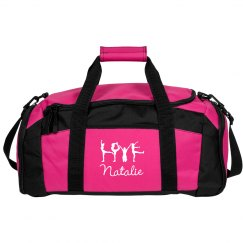 Pink Cheer Gear Bag With Custom Name and Cheer Art