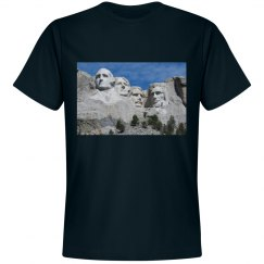 Black tee with Mount Rushmore