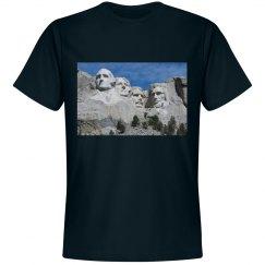 Black tee with Mount Rushmore