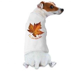 Canada Souvenir Dog Shirts Autumn Gold Maple Leaf