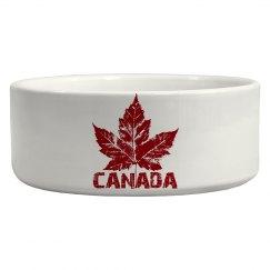 Canada Souvenir Pet Bowls Cool Retro Maple Leaf Gifts