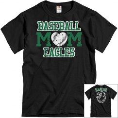 BASEBALL MOM EAGLES T-SHIRT Distressed