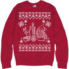 Christmas & Cacti Ugly Sweater