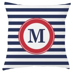 Custom Monogram Naval Decor Pillow