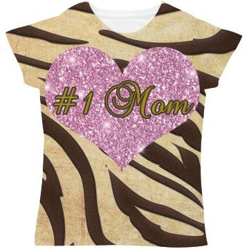 #1 Mom Pink Heart Brown & Gold Animal Print