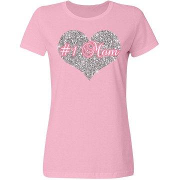 #1 Mom Silver Heart