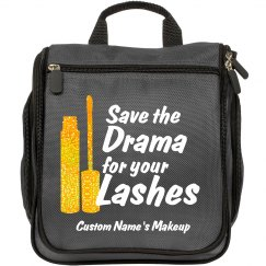 Save the Drama for your Lashes gold glitter custom bag