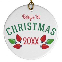 Custom Baby's Christmas Lights Ornament