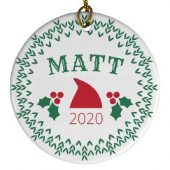 Custom Baby Name Santa Ornament