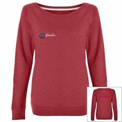 Plain Scoop Neck Sweatshirt - Black