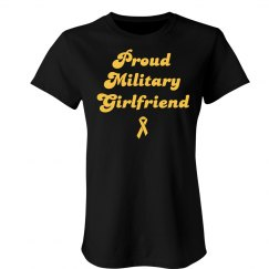 Retro Text Proud Military Girlfriend