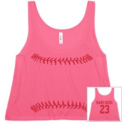 Softball Girl Neon Yellow Fashion Crop With Back