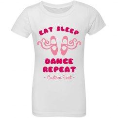 Eat Sleep Dance Repeat Girl's Ruffle Custom Top