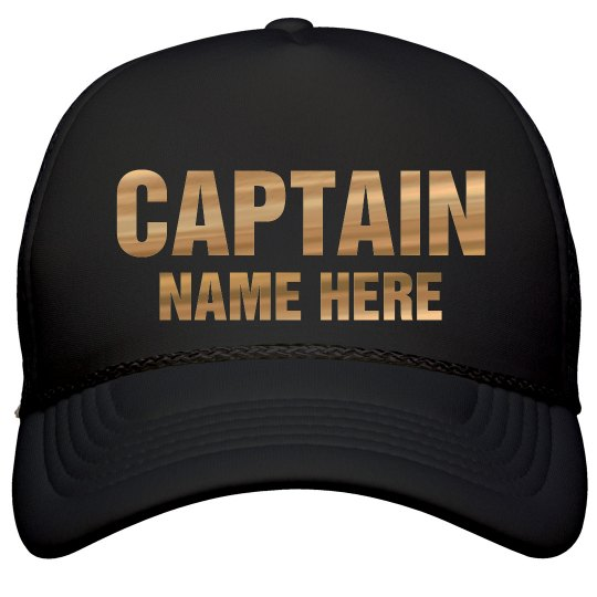 e99219ca5c4af Metallic Captain Custom Name Film and Foil Solid Color Snapback Trucker Hat