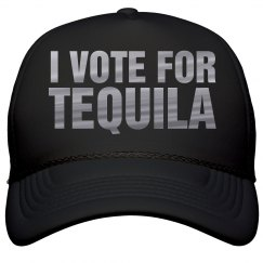 I Vote For Tequila Metallic Text