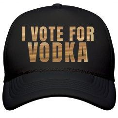 I Vote For Vodka Metallic Text