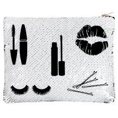 White Flip Sequin Make-up Bag