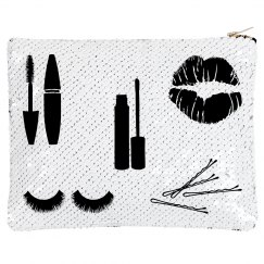 White Flip Sequin Make-up Bag