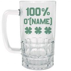 100% Irish Name Beer Stein
