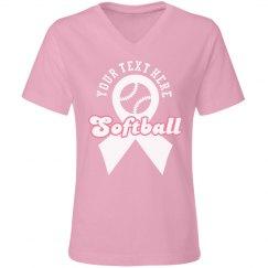Custom Softball Pink Ribbon