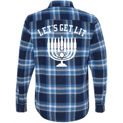 Hanukkah Plaid Get Lit Menorah
