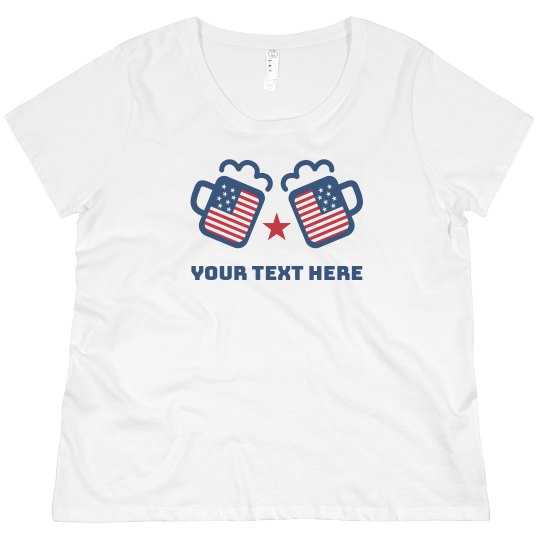06230955627 Custom Red White   July 4th Cheers Promo Ladies Curvy Plus Size Scoopneck T- Shirt