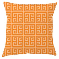 Orange Greek Key Pattern Throw Pillow Cover